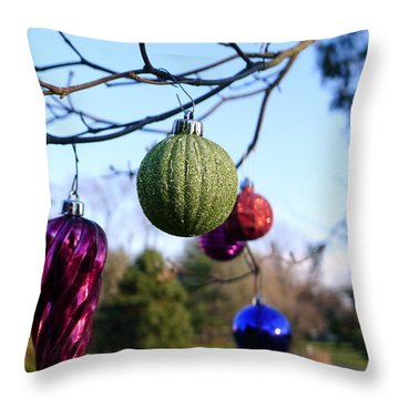 Christmas Baubles Throw Pillow by Richard Reeve