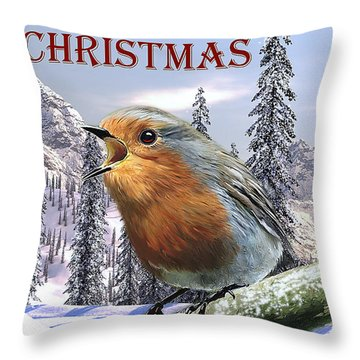 Christmas Card Red Robin Throw Pillow by Michael Greenaway