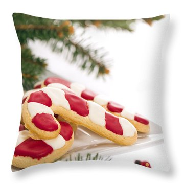 Christmas Cookies Decorated With Real Tree Branches Throw Pillow