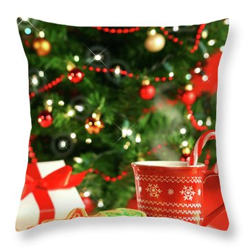 Christmas Cookies  Near The  Tree  Throw Pillow by Sandra Cunningham
