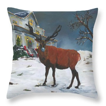 Christmas Elk Throw Pillow