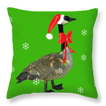Christmas Goose Throw Pillow