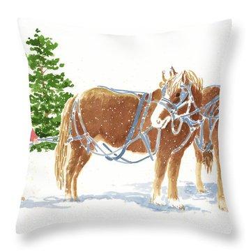 Christmas Horses Throw Pillow