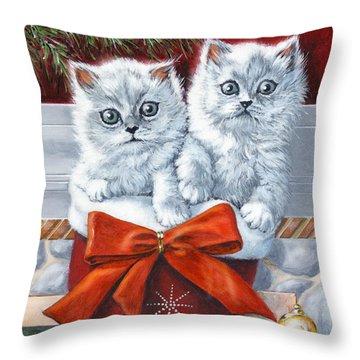 Christmas Kittens Throw Pillow by Richard De Wolfe