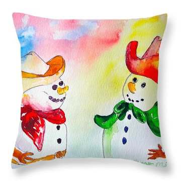 Throw Pillow featuring the painting Christmas Partners by Sharon Mick