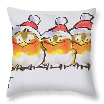 Christmas Robins Throw Pillow by Diane Matthes