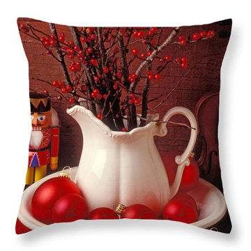 Christmas Still Life Throw Pillow by Garry Gay
