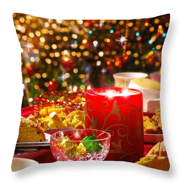 Christmas Table Set Throw Pillow by Carlos Caetano