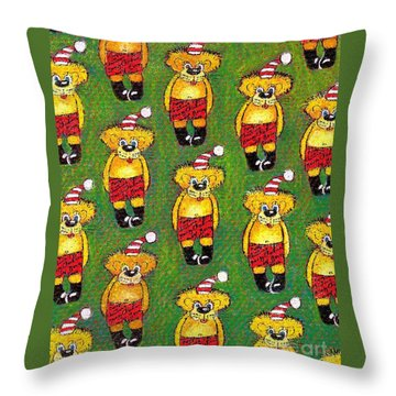 Christmas Teddy Bears Throw Pillow by Genevieve Esson