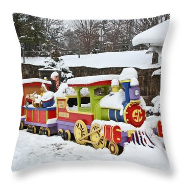 Christmas Train Throw Pillow