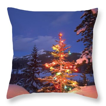 Christmas Tree Outdoors At Night Throw Pillow by Carson Ganci