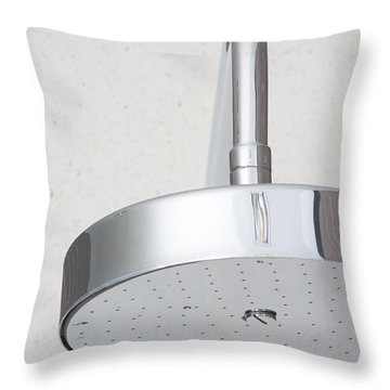 Chrome Shower Head Throw Pillow