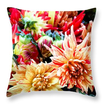 Chrysanthemum Blooms Throw Pillow by Tony Grider