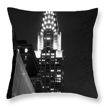 Throw Pillow featuring the photograph Chrysler Building by Michael Dorn