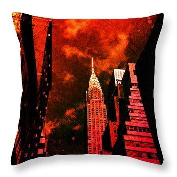 Chrysler Building - New York City Surreal Throw Pillow by Vivienne Gucwa