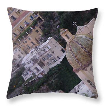 Throw Pillow featuring the photograph Church - Positano by Nora Boghossian