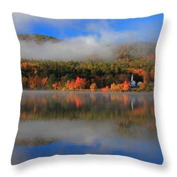 Church Across The Lake-panoramic Throw Pillow