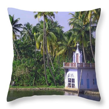 Church Located On A Coastal Lagoon In Kerala In India Throw Pillow by Ashish Agarwal