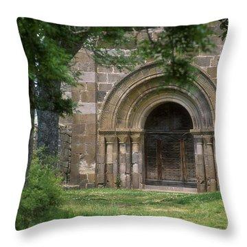 Church Of Bredons.cantal. France Throw Pillow by Bernard Jaubert