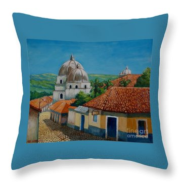 Church Of Pespire In Honduras Throw Pillow