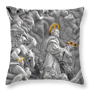 Church Of St James The Greater Prague - Stucco Bas-relief Throw Pillow by Christine Till