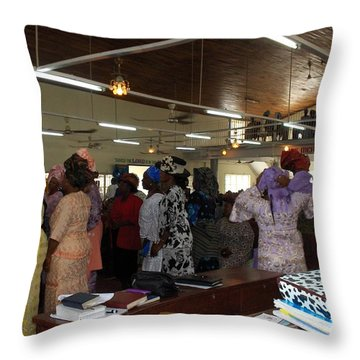 Church Service In Nigeria Throw Pillow by Amy Hosp