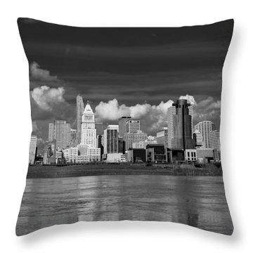 Cincinnati Skyline Bw Throw Pillow by Keith Allen