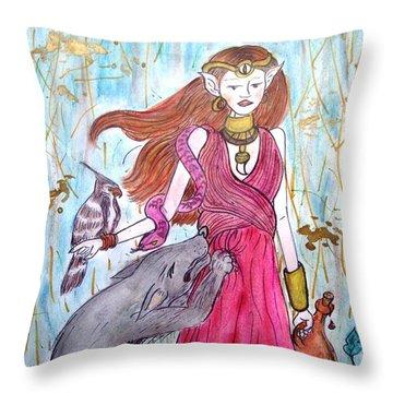 Circe The Sorceress Throw Pillow by Koral Garcia