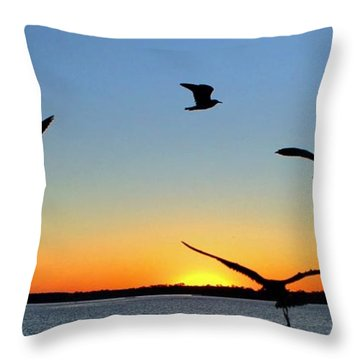 Circle Meeting At Sunrise Throw Pillow by Benanne Stiens