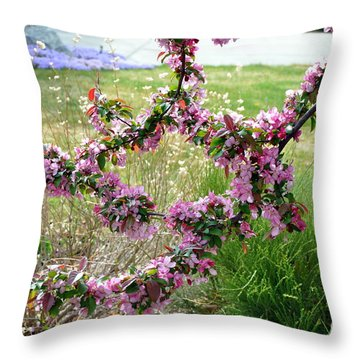 Circle Of Blossoms Throw Pillow