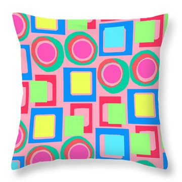 Circles And Squares Throw Pillow by Louisa Knight