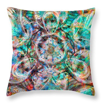 Circles Of Life Throw Pillow by Mo T
