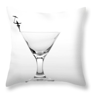 Circus Balance Game On Cup Edge Throw Pillow by Paul Ge