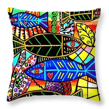 Citrine Coral Fish Throw Pillow