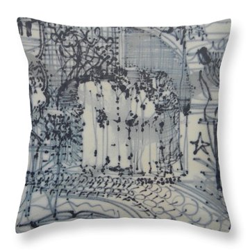 City Doodle Throw Pillow
