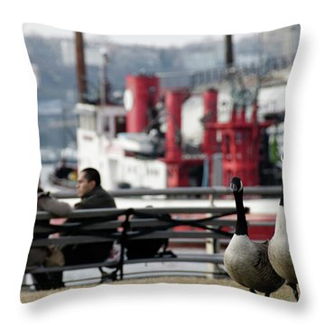 City Geese Throw Pillow
