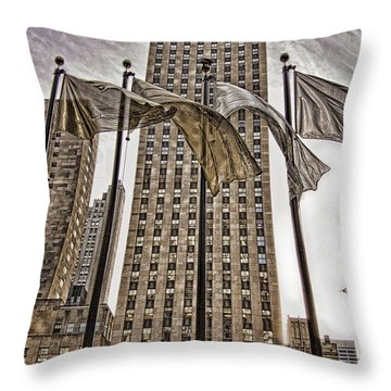 Throw Pillow featuring the photograph City Glitz by Anne Rodkin