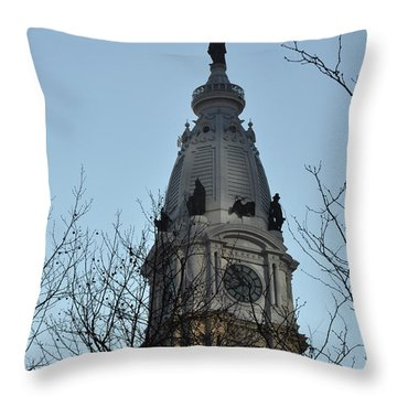 City Hall Tower Philadelphia Throw Pillow by Bill Cannon