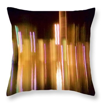 Throw Pillow featuring the photograph City Lights Over Water Abstract by Carolyn Repka