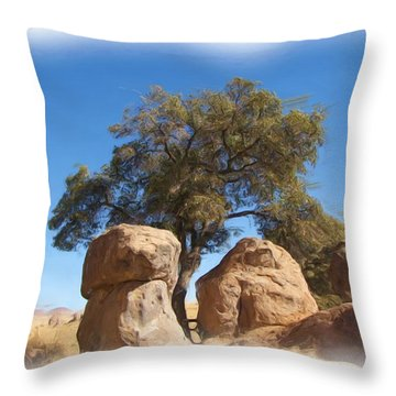 City Of Rocks State Park Throw Pillow by FeVa  Fotos