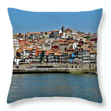City On A Hill On A River Throw Pillow by Kirsten Giving