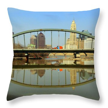 City Reflections Through A Bridge Throw Pillow by Laurel Talabere