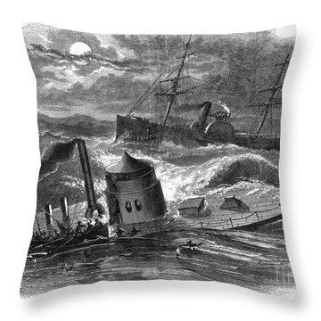 Civil War: Monitor Sinking Throw Pillow by Granger