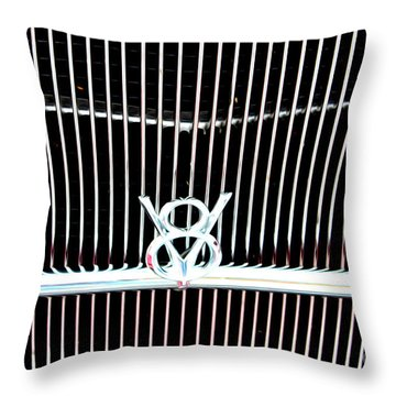 Throw Pillow featuring the digital art Classic Ford Grill by Tony Cooper