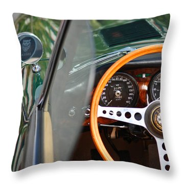 Throw Pillow featuring the photograph Classic Green Jaguar Artwork by Shane Kelly