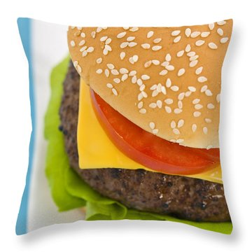 Classic Hamburger With Cheese Tomato And Salad Throw Pillow by Ulrich Schade