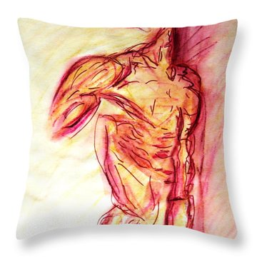 Classic Muscle Male Nude Looking Over Shoulder Sketch In A Sensual Primal Erotic Timeless Master Art Throw Pillow