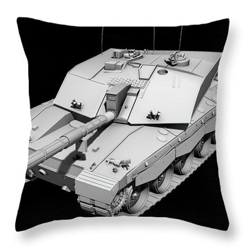Clay Render Of A Challenger II Tank Throw Pillow by Rhys Taylor
