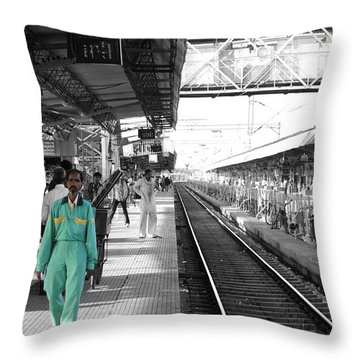 Cleaner At The Train Station Throw Pillow by Sumit Mehndiratta