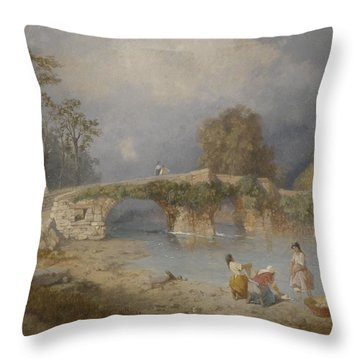 Clearing Up For Fine Weather Beddgelert North Wales 1867 Throw Pillow by James Baker Pyne